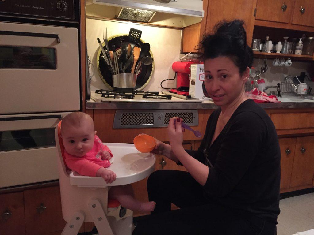 Burlesque star Angie Pontani with baby daughter Sistilia. (Copyright Angie Pontani)