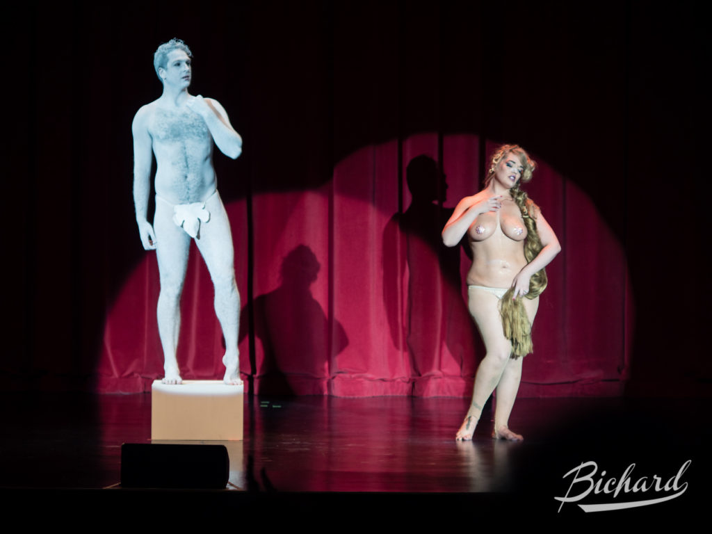 St Stella and James and the Giant Pasty in the Movers, Shakers and Innovators showcase at the Burlesque Hall of Fame Weekend 2016. Image copyright John-Paul Bichard.