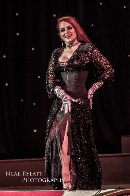 Jo Weldon stars in Burlesque Noir at the Blackpool Tower Ballroom. Photo Neal Rylatt Photography.