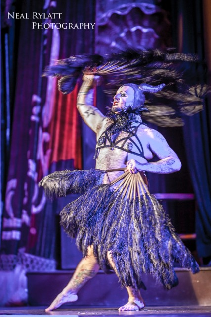Lou Safire stars in Burlesque Noir at the Blackpool Tower Ballroom. Photo Neal Rylatt Photography.