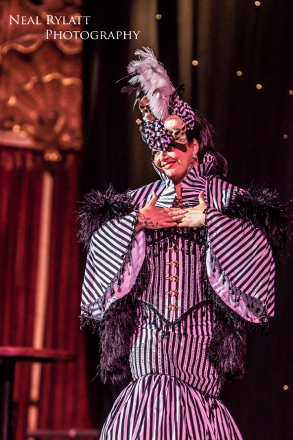 Raven Noir stars in Burlesque Noir at the Blackpool Tower Ballroom. Photo Neal Rylatt Photography.