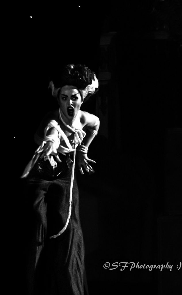 Missy Malone stars in Burlesque Noir at the Blackpool Tower Ballroom. Photo SF Photography.