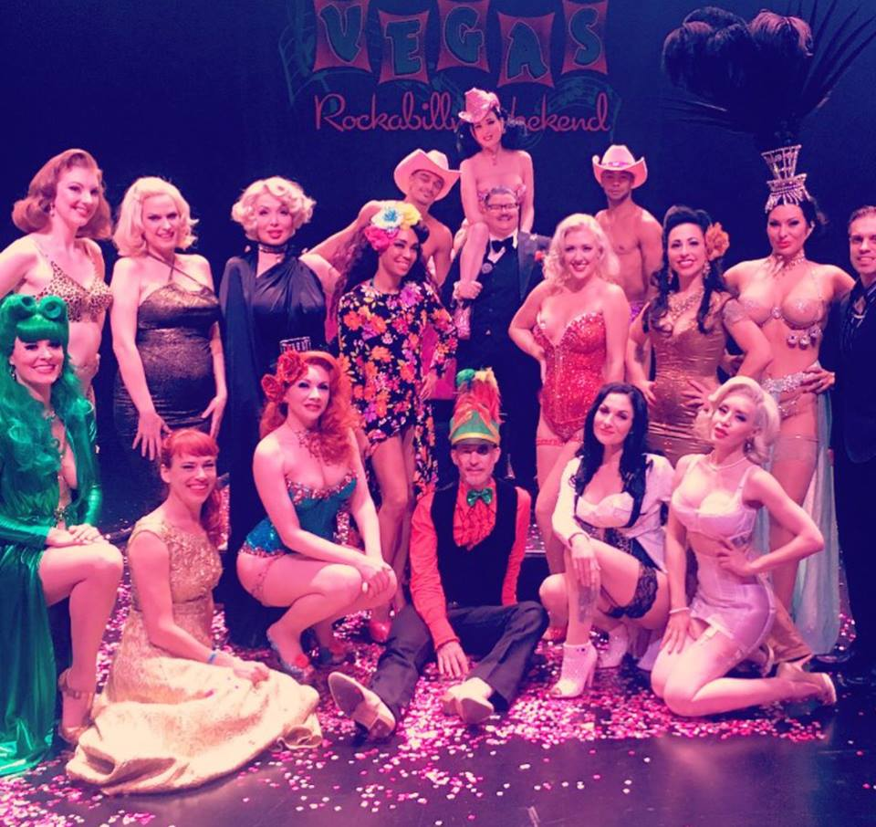 The cast and crew of the Viva Las Vegas Burlesque Showcase 2017: Including Dita Von Teese (top, centre) with Vontourage Alek Palinski and Elio Martinez, Murray Hill, Angie Pontani, Missy Lisa, Kalani Kokonuts, Ms Redd, Jeez Loueez, Courtney Cruz, Scarlet O'Gasm, Christopher Wonder, Immodesty Blaize, stage kittens Annabel of the Ball and Edie Edison, and stage manager David Bishop.