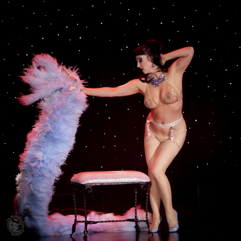 Indigo Blue in the 60th annual Titans of Tease Burlesque Reunion Showcase at the Burlesque Hall of Fame Weekend 2017. Image by Honey Beavers, exclusively for 21st Century Burlesque Magazine