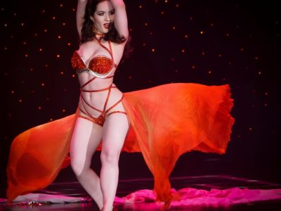 Medianoche, who was crowned Miss Exotic World, Reigning Queen of Burlesque 2017, at the Burlesque Hall of Fame Weekend 2017. Image by Honey Beavers, exclusively for 21st Century Burlesque Magazine