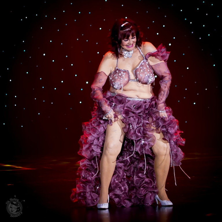 Fabulous Fanny in the 60th annual Titans of Tease Burlesque Reunion Showcase at the Burlesque Hall of Fame Weekend 2017. Image by Honey Beavers, exclusively for 21st Century Burlesque Magazine