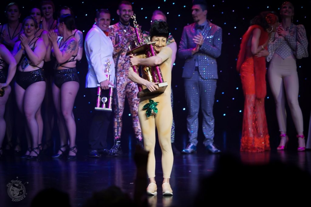 Lou Henry Hoover is crowned Best Boylesque at the Burlesque Hall of Fame Weekend 2017. Image by Honey Beavers, exclusively for 21st Century Burlesque Magazine