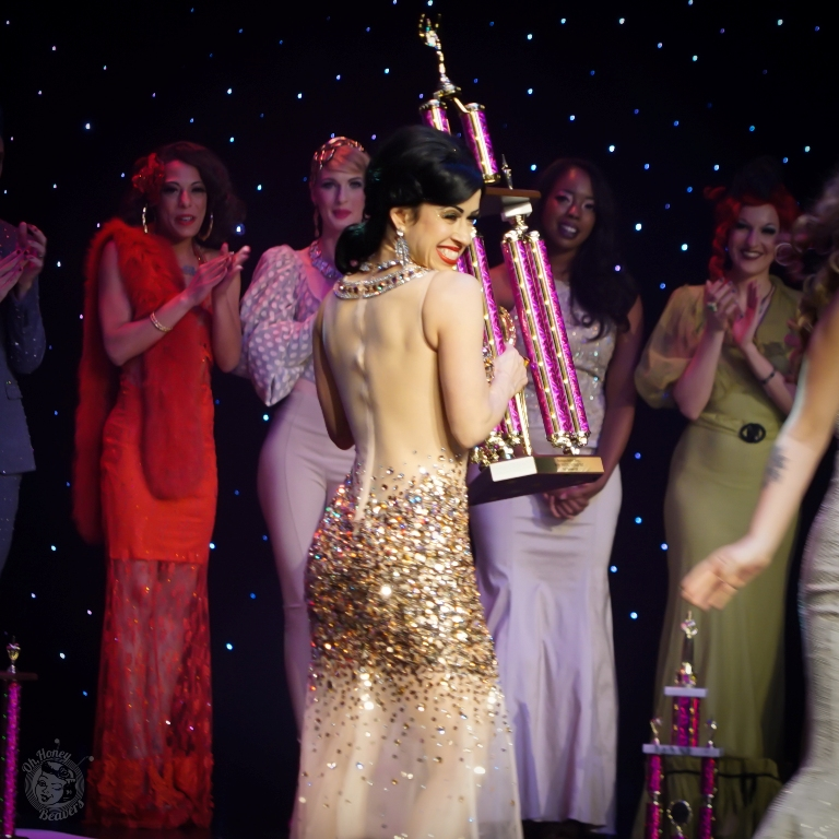 Sweetpea is awarded Miss Exotic World 1st Runner Up at the Burlesque Hall of Fame Weekend 2017. Image by Honey Beavers, exclusively for 21st Century Burlesque Magazine