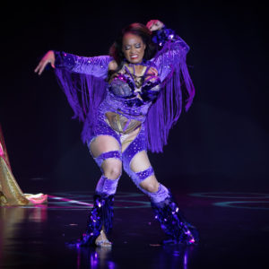 Egypt Blaque Knyle competing for Best Debut at the Burlesque Hall of Fame Weekend 2017. Image by Honey Beavers, exclusively for 21st Century Burlesque Magazine